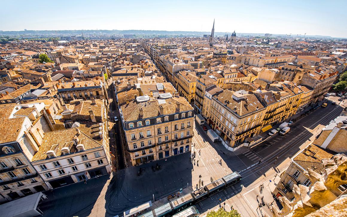 Ville de Bordeaux vue de haut