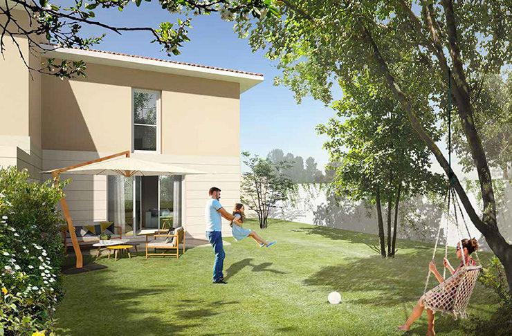 jardin maison achat immobilier neuf Bordeaux Métropole Le Taillan-Médoc